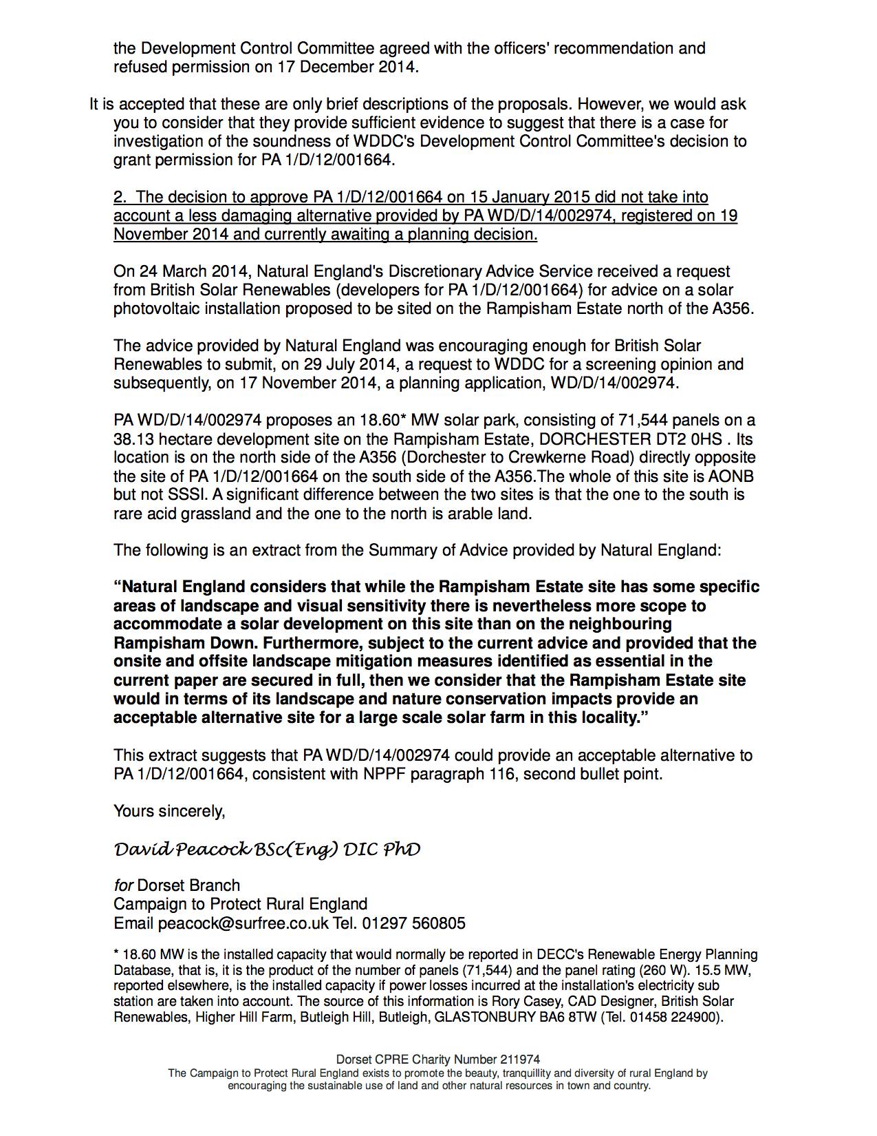 P2 Dorset CPRE Letter To NPCU Ref Call In 1 D 12 001664 5 February