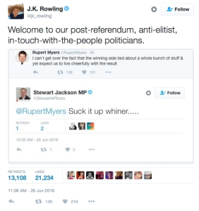 rowling comments on suck it up whiners