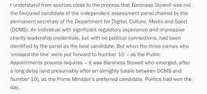 Parliament Rejects Baroness Stowell For Charity Commission Job Govt